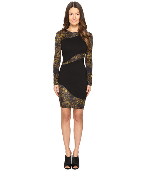 Versace Jeans Long Sleeve Placed Sheer Dress