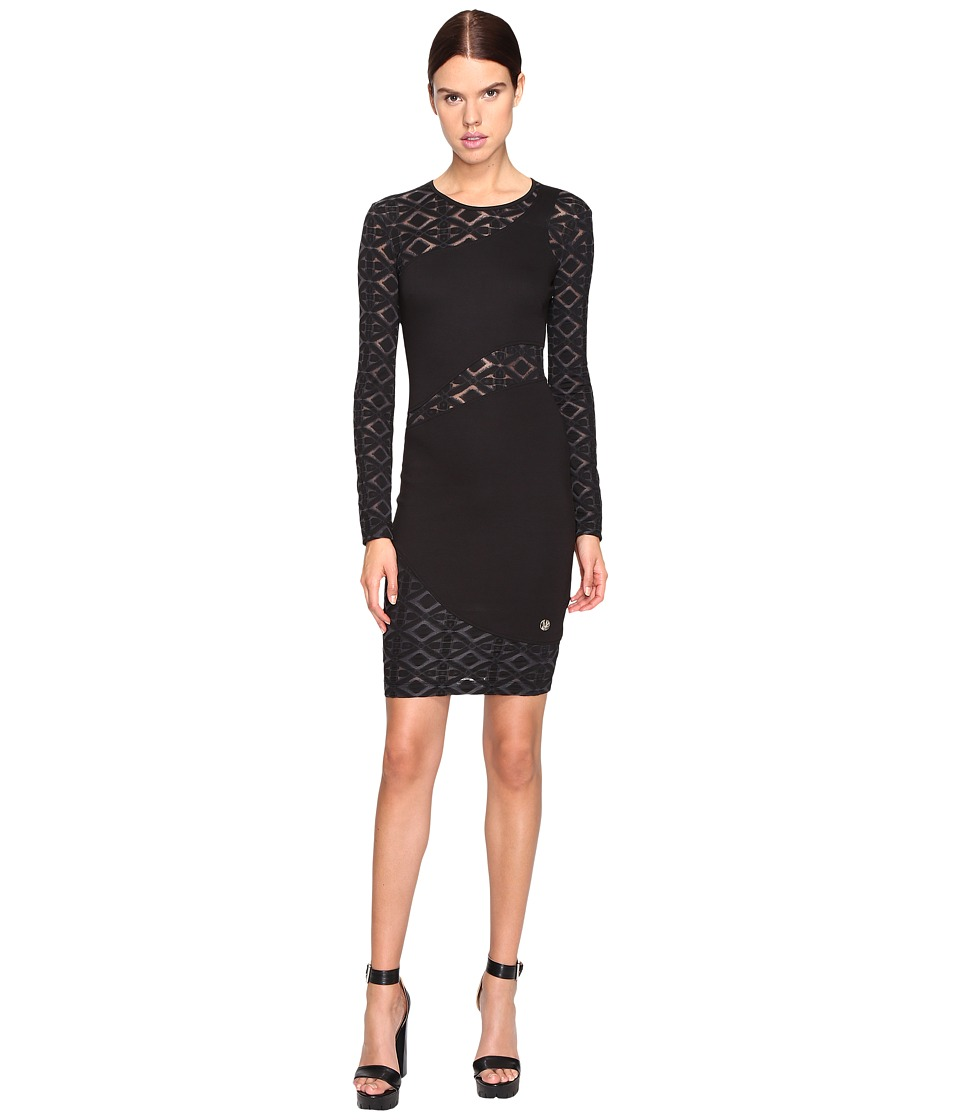 Versace Jeans Long Sleeve Diamond Sheer Dress (Nero) Women