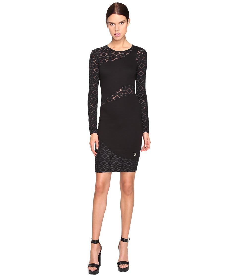 Versace Jeans Long Sleeve Diamond Sheer Dress (Nero) Women