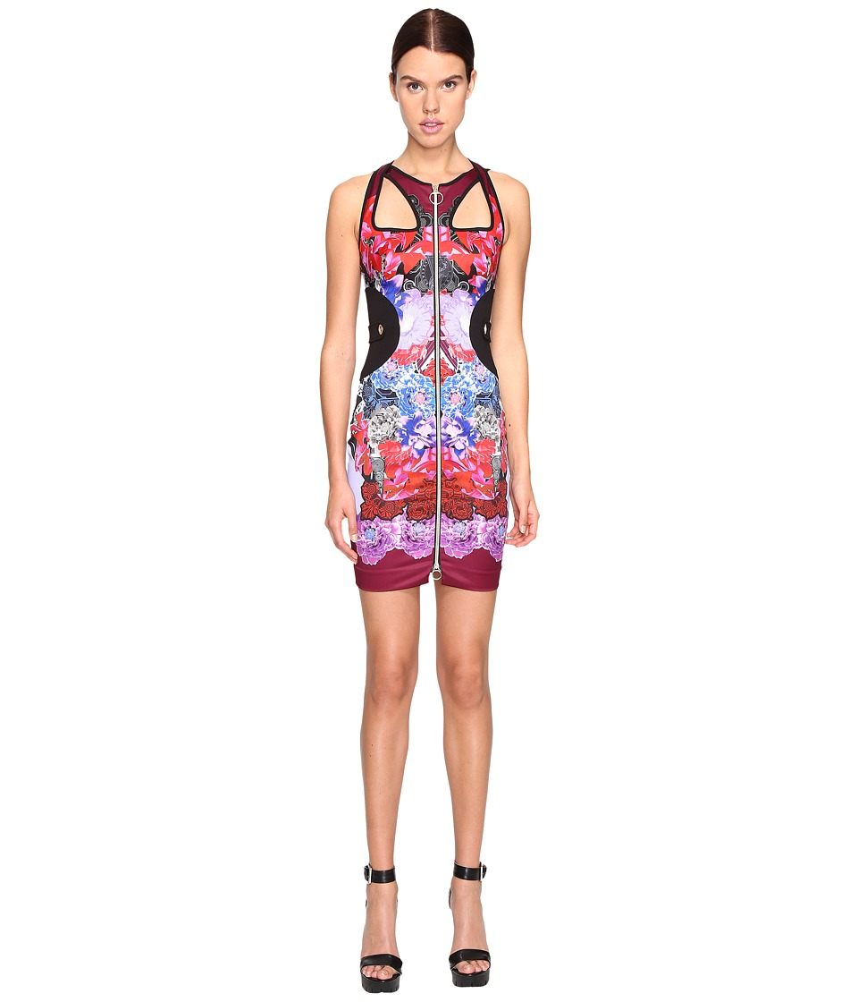 Versace Jeans Sleeveless Cut Out Printed Dress (Wisteria) Women