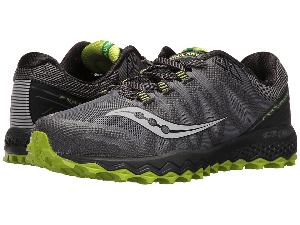 Saucony - Peregrine 7 (Grey/Black/Lime) Mens Shoes