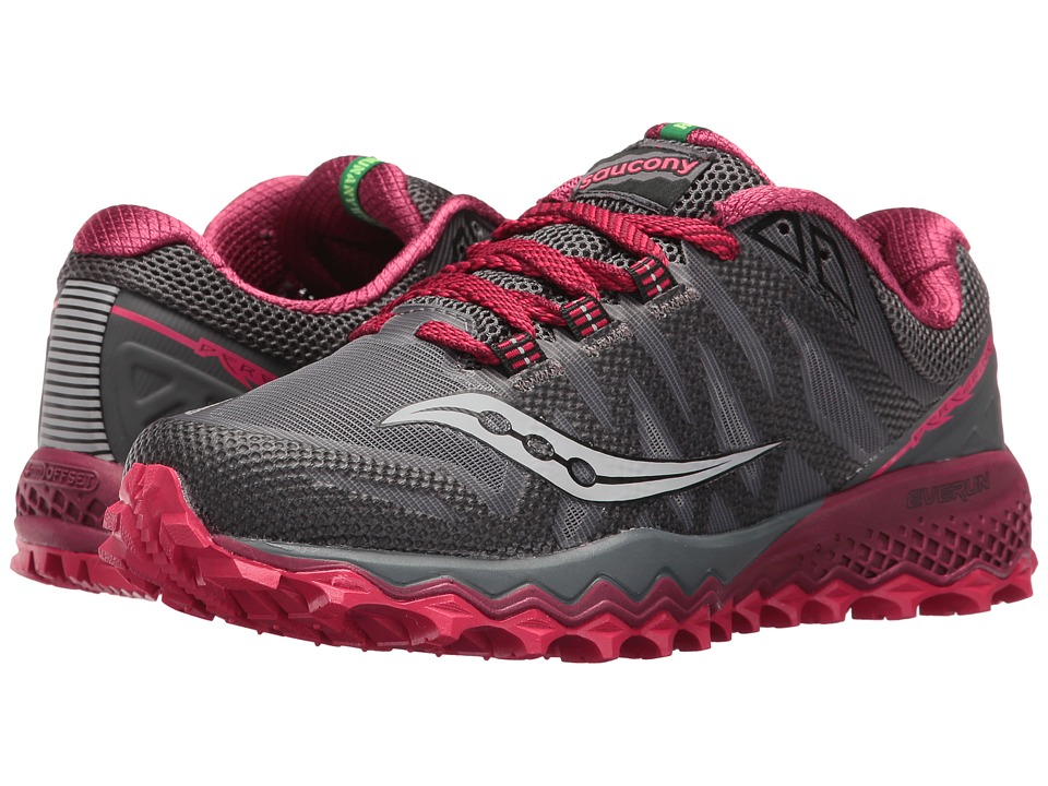 Saucony Peregrine 7 (Grey/Berry) Women's Shoes