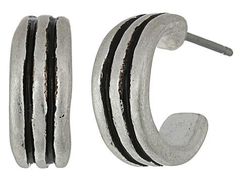 The Sak Ribbed Baby Hoop Earrings - Silver
