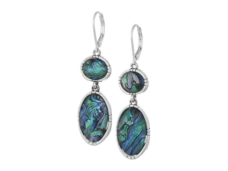 The Sak - Double Stone Drop Earrings (Abalone) Earring