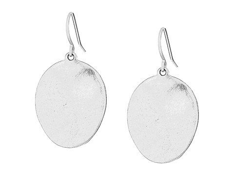 The Sak Wavy Disc Drop Earrings - Silver