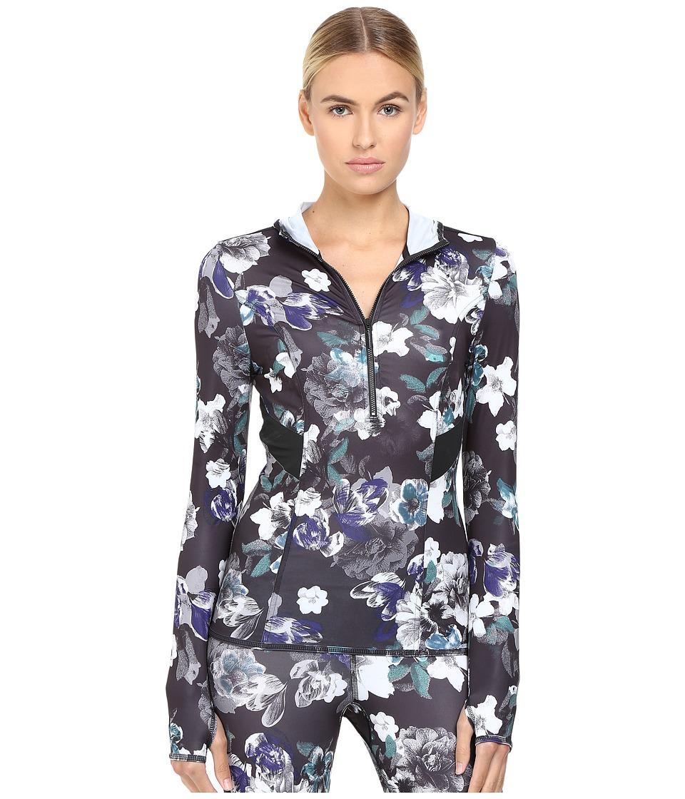 Image of adidas by Stella McCartney - Essentials Adizero Hooded Long Sleeve AX7340 (Black/Deepest Purple) Women's Sweatshirt
