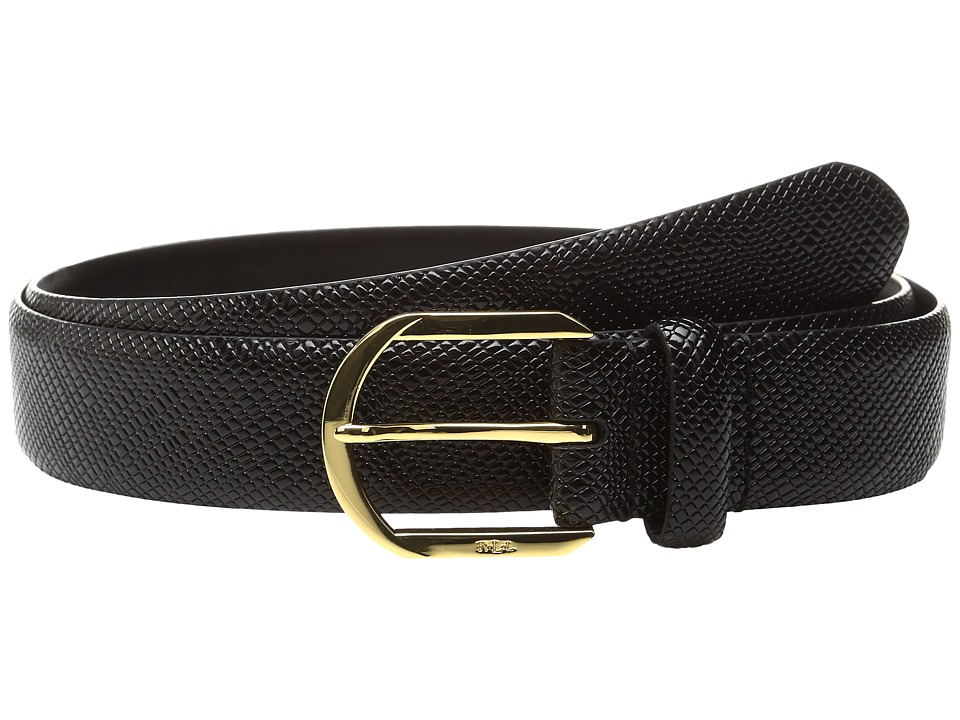 LAUREN Ralph Lauren - 1 1/4 Sidebar Buckle on Patent Crosshatch Strap