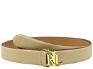 LAUREN Ralph Lauren 1 1/4 Carrington RLL Signature Monogram Dress Belt on Pebbled Grain Strap