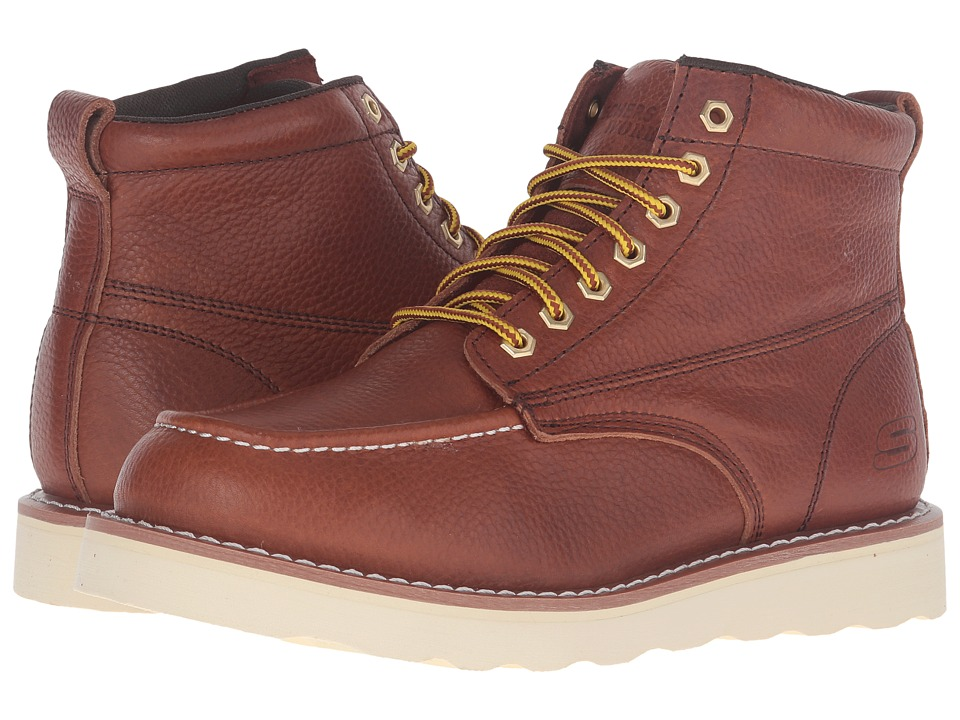 SKECHERS Work Pettus (Red/Brown Pitstop Leather) Men