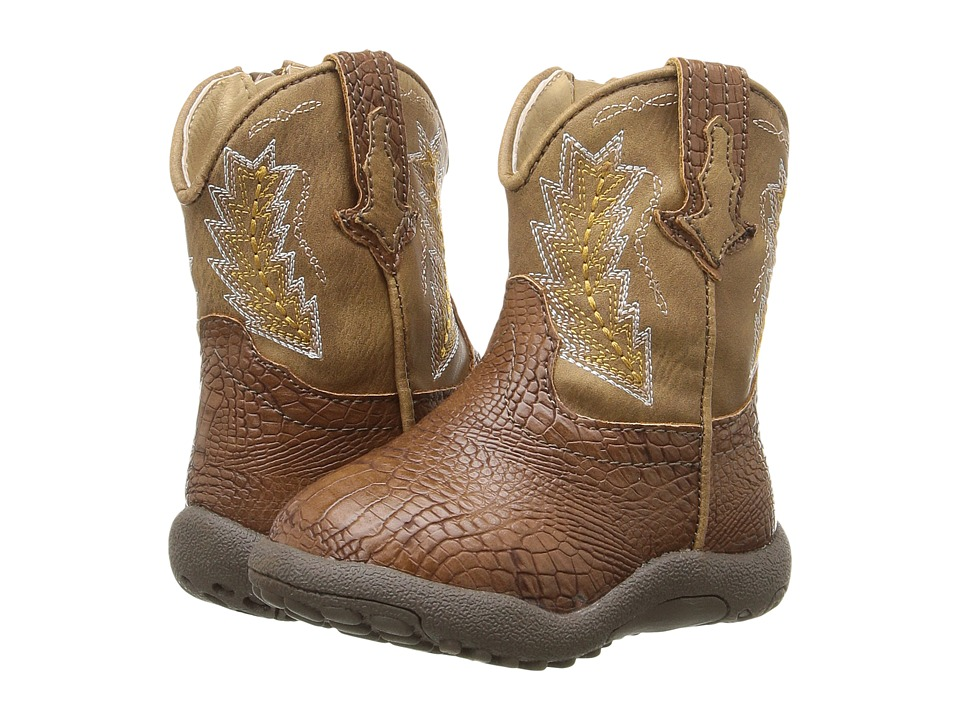 Roper Kids Charlie (Infant/Toddler) (Brown Faux Caiman/Vamp Tan Shaft) Cowboy Boots