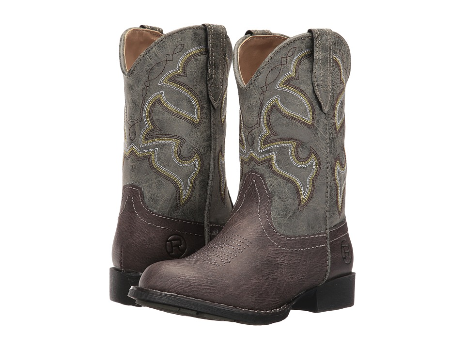 Roper Kids Cody (Toddler/Little Kid) (Brown Faux Leather/Vamp Green Shaft) Cowboy Boots