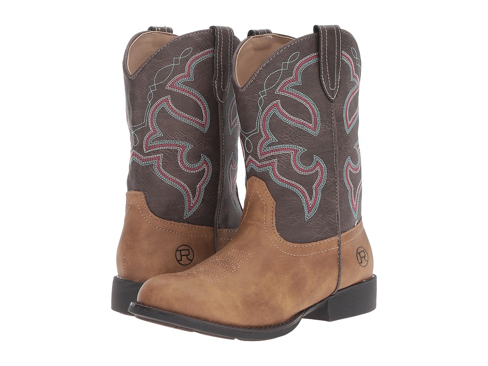 Roper Kids Cody (Toddler/Little Kid) (Tan Faux Leather/Vamp Brown Shaft) Cowboy Boots