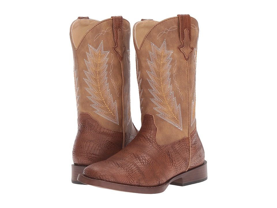 Roper Kids Charlie (Big Kid) (Brown Faux Caiman/Vamp Tan Shaft) Cowboy Boots