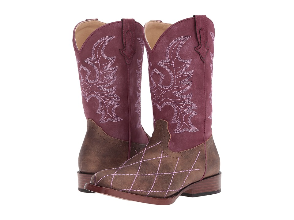 Roper Kids Cross Cut (Toddler/Little Kid) (Brown Faux Leather/Vamp Raspberry Shaft) Cowboy Boots