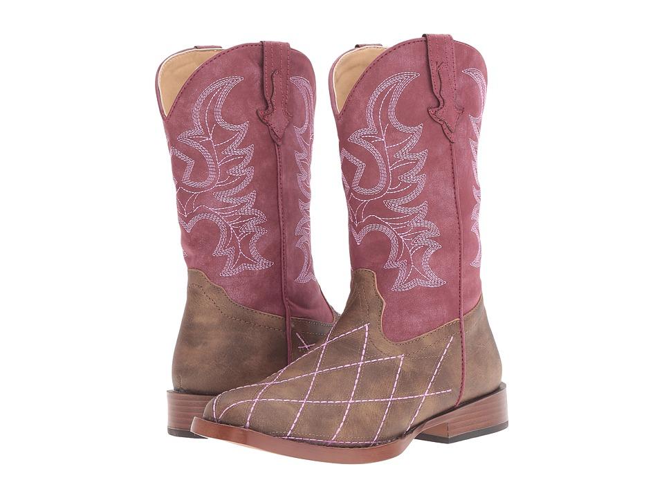 Roper Kids Cross Cut (Big Kid) (Brown Faux Leather/Vamp Raspberry Shaft) Cowboy Boots