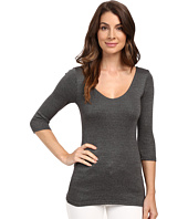 Michael Stars - Shine 3/4 Sleeve Double Front V-Neck