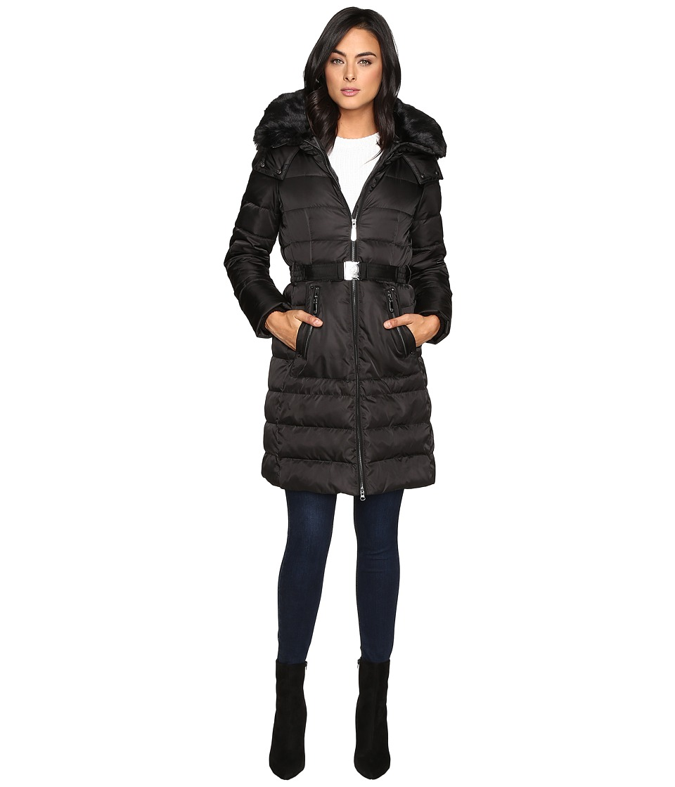 Vince Camuto Belted Down w/ Removable Hood and Faux Fur Collar J8691 (Black) Women