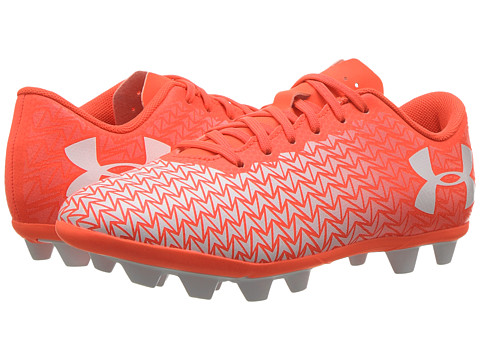 Under Armour Kids UA CF Force 3.0 FG-R Jr. Soccer (Little Kid/Big Kid) - Neon Coral/White