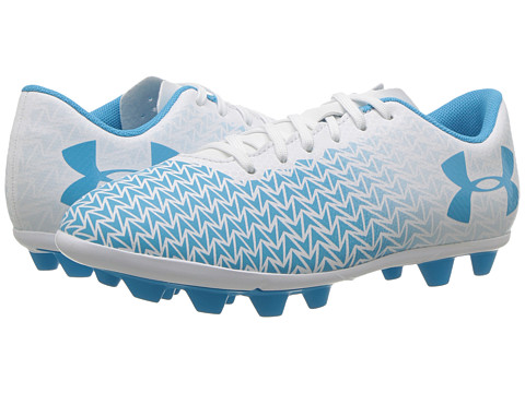 Under Armour Kids UA CF Force 3.0 FG-R Jr Soccer (Toddler/Little Kid/Big Kid) - White/Meridian Blue