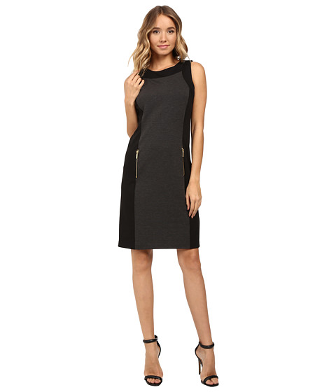 Christin Michaels Dayton Color Block Dress - Charcoal/Black