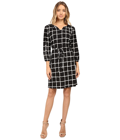 Christin Michaels Lafayette Grid Print Dress - Navy/Ivory