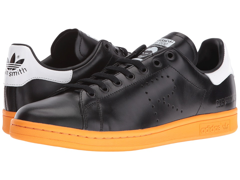 Image of adidas by Raf Simons - Raf Simons Stan Smith Lace-Up (Black/White/Bright Orange) Shoes
