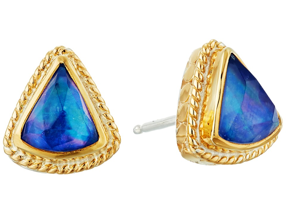 Image of Anna Beck - Lapis Triplet Fan Stud Earrings (Gold/Silver) Earring