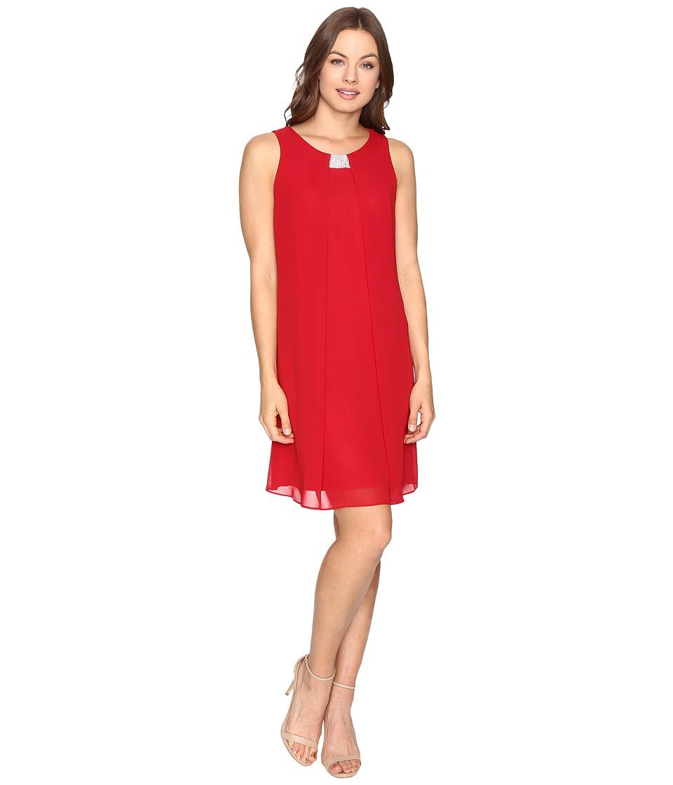 Christin Michaels Garland Sleeveless Dress (Red) Women