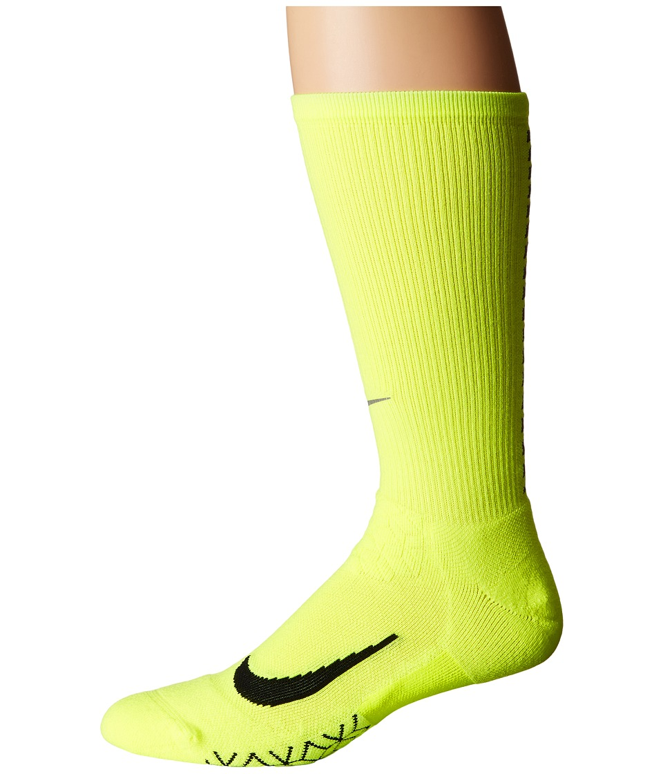 Nike Elite Running Cushion Crew Socks (Volt/Black) Crew C...