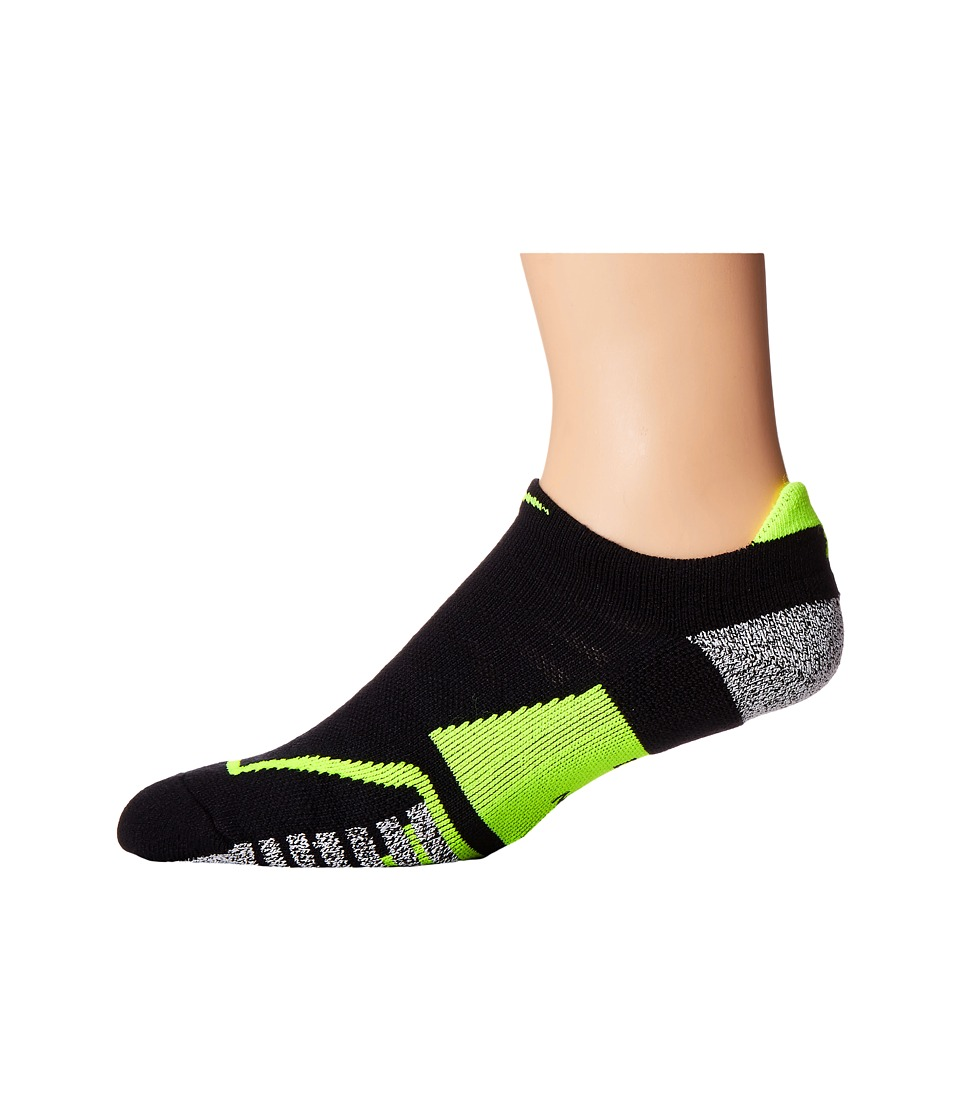 Nike - NIKEGRIP Elite No Show Tennis Socks (Black/Volt/Volt) No Show Socks Shoes