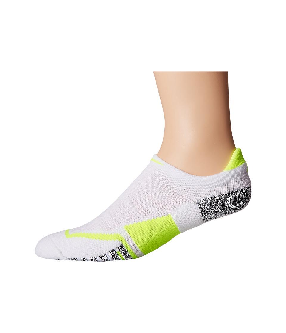 Nike - NIKEGRIP Elite No Show Tennis Socks (White/Volt/Volt) No Show Socks Shoes