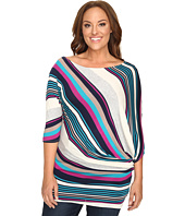 Christin Michaels - Plus Size Mika 3/4 Sleeve Striped Top