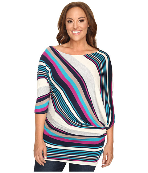 Christin Michaels Plus Size Mika 3/4 Sleeve Striped Top
