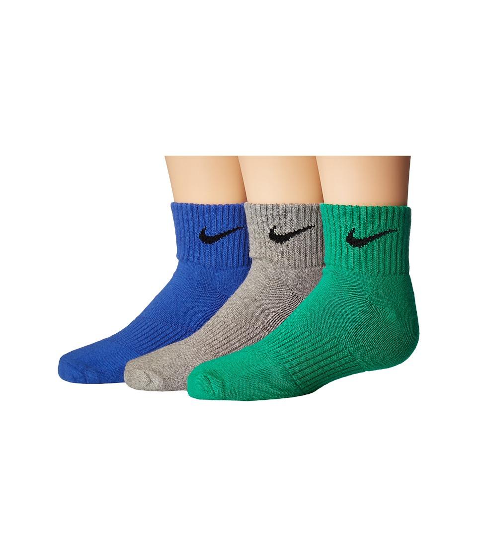 Nike Kids - Cotton Cushion Quarter Length Socks w/ Moisture Management 3-Pair Pack (Little Kid/Big Kid) (Multicolor) Kids Shoes