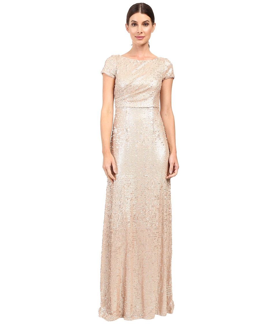 Adrianna Papell - Short Sleeve Sequin Long Dress