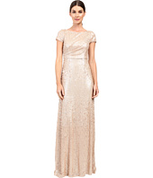 Adrianna Papell - Short Sleeve Sequin Long Dress