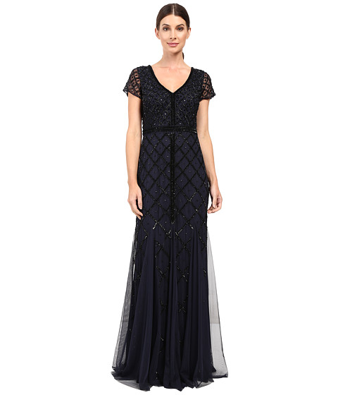 Adrianna Papell Short Sleeve V-Neck Beaded Godet Gown