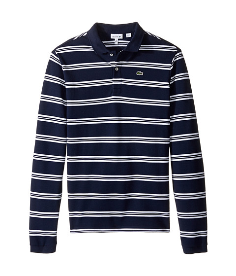 Lacoste kids long sleeve stripe pique polo toddler little for Lacoste stripe pique polo shirt