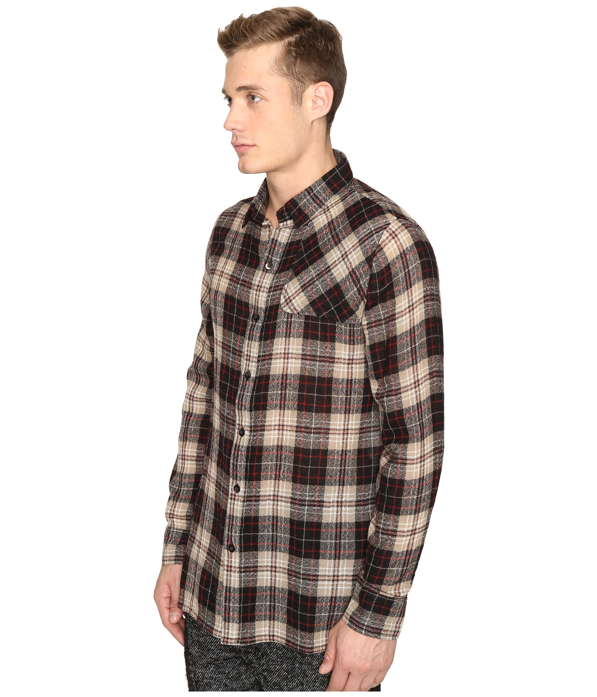 Matiere bowen japanese gauze plaid button down shirt for Gauze button down shirt