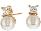 Majorica TU Y YO CZ Gold Stud Earrings