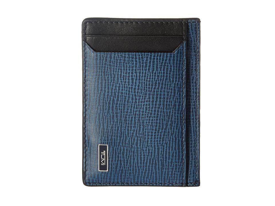 Tumi Monaco Money Clip Card Case (Cobalt) Credit card Wallet