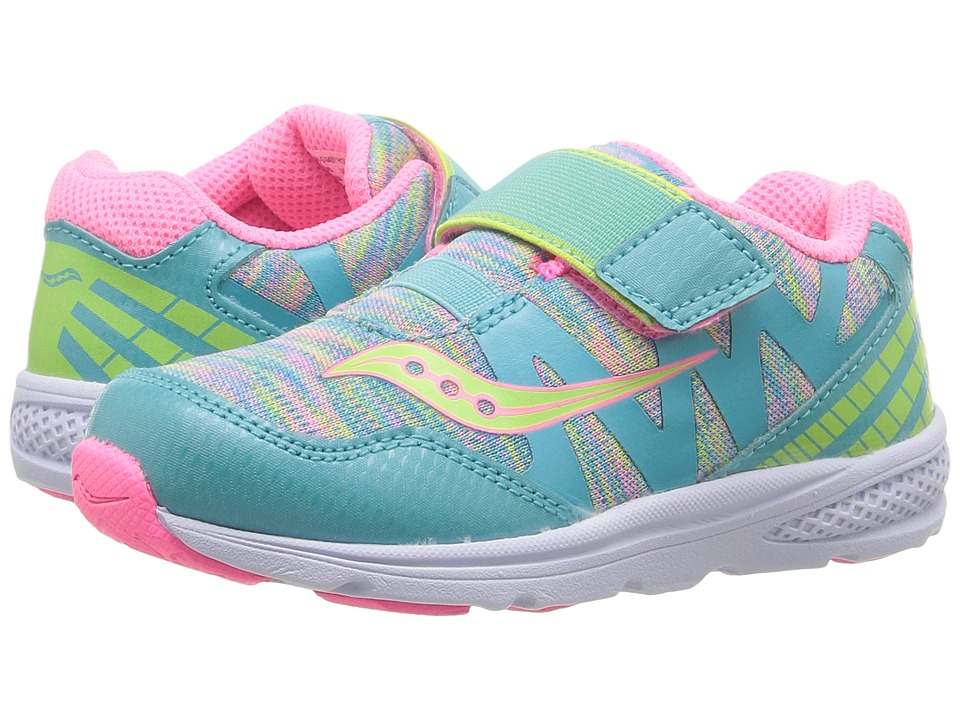 Saucony Kids - Ride Pro (Toddler/Little Kid) (Turquoise/Multi) Girls Shoes