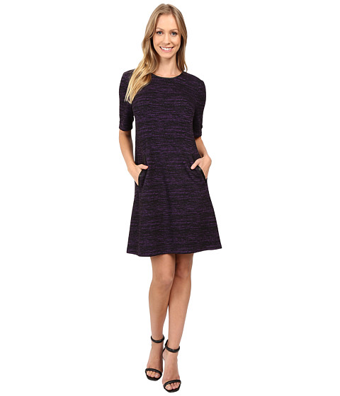 Donna Morgan A-Line Shift Dress with Faux Leather - Black/Syrup
