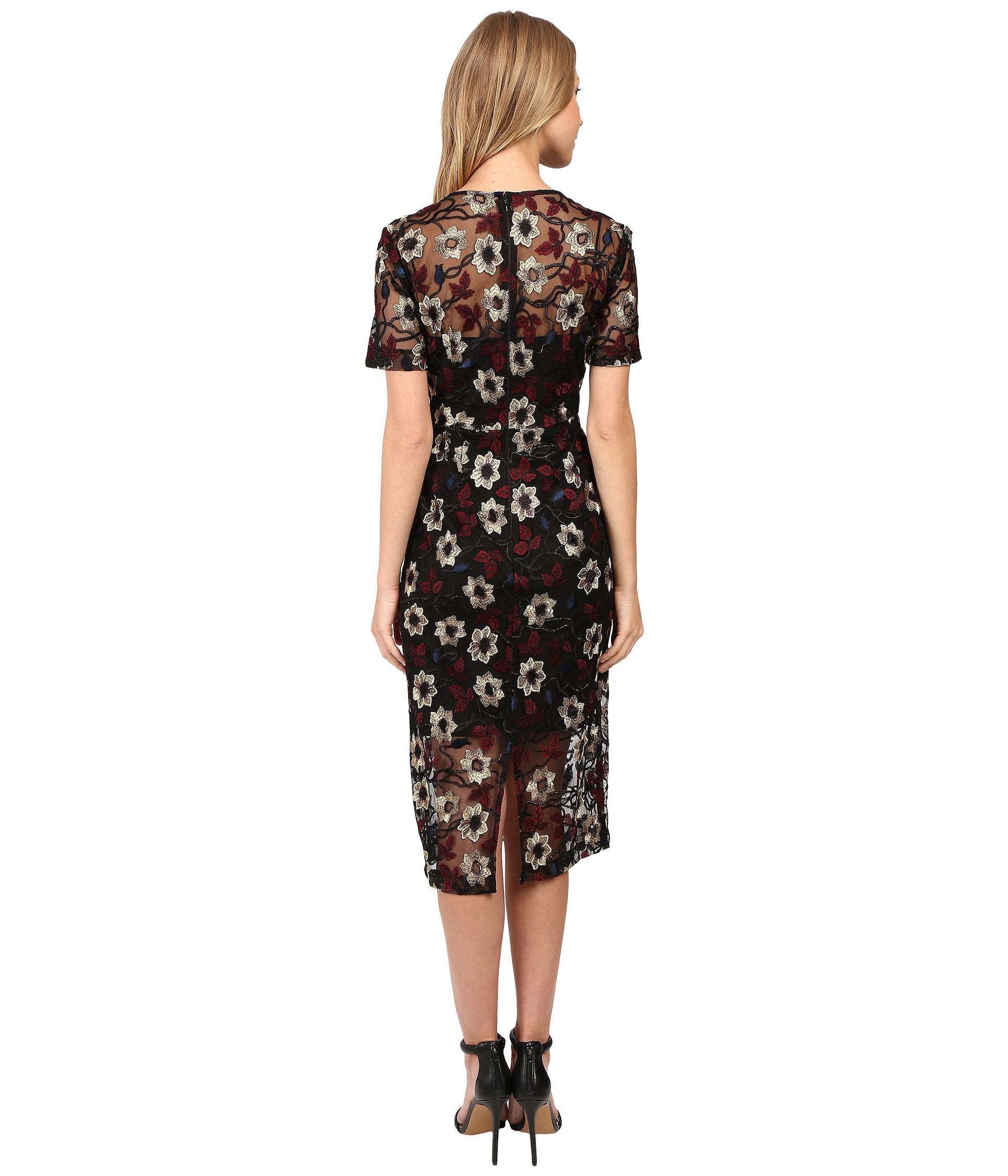 Donna morgan floral embroidered mesh dress black cos