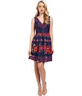 Sangria - V-Neck Folklore Print Scuba Fit and Flare