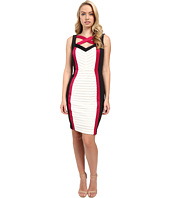 Sangria - Tri Colored Shutter Pleat Cut Out Neck Sheath