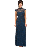 Adrianna Papell - Cap Sleeve Beaded Turtleneck Gown