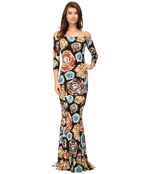 KAMALIKULTURE by Norma Kamali Off Shoulder Fishtail Gown - Painter Roses