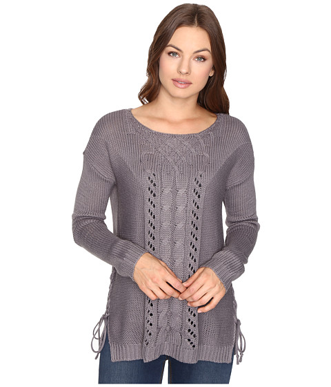 Brigitte Bailey Garnet Pullover w/ Mixed Cable & Lace - Dark Heather
