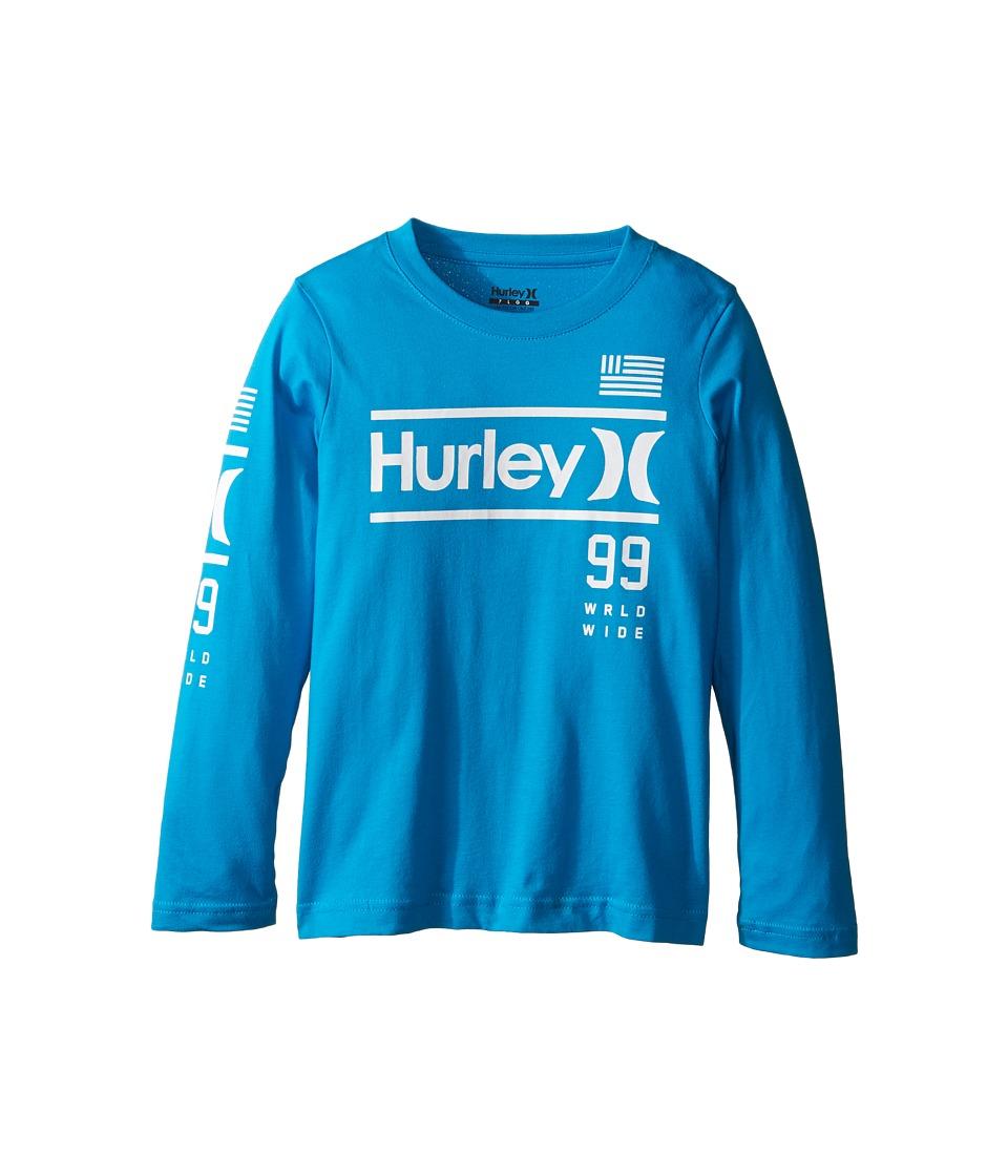 Hurley Kids - Pride Only Long Sleeve Tee (Little Kids) (Blue Lagoon) Boy